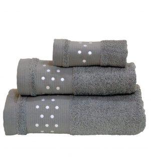 Toallas De Baño De Lunares – Juego de 3 piezas – Toalla de mano, toalla de baño (+ + toalla para la cara ) – Gris w/color blanco